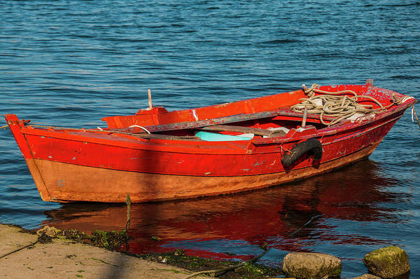 red boat moored in the port of Combarro Poster