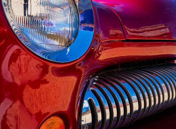 Poster featuring the photograph Red Car Chrome Grill by Tom Gresham