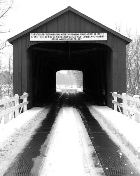 Red Covered Bridge - Black And White Poster