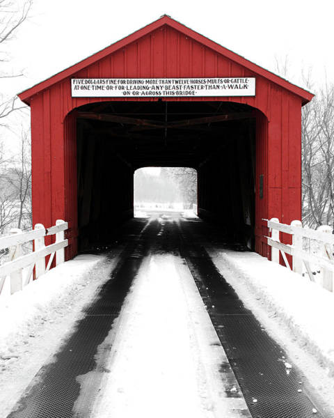 Red Covered Bridge Poster
