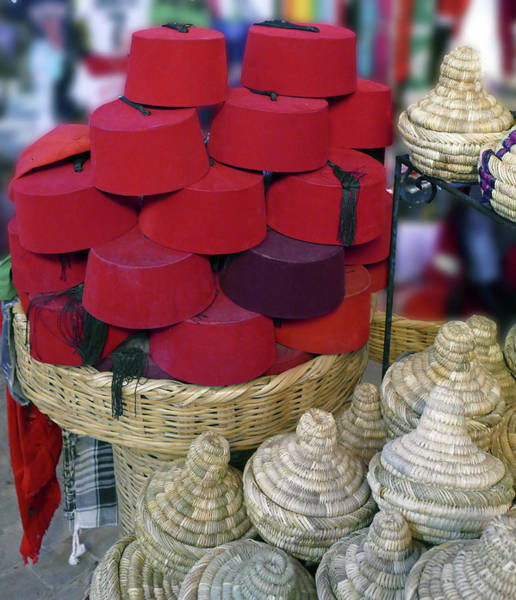 Red Fez Tarbouche And White Wicker Tagine Cookers Poster