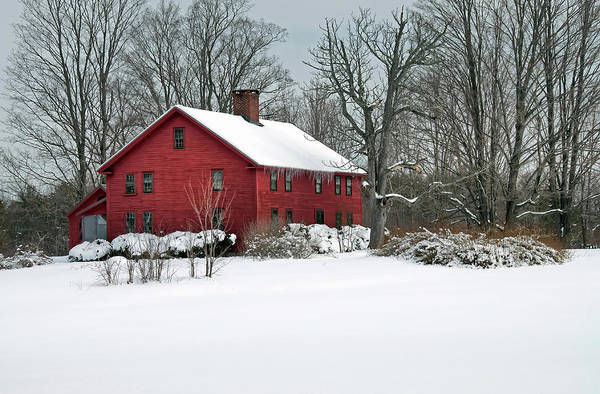 Poster featuring the photograph Red New England Colonial In Winter by Wayne Marshall Chase