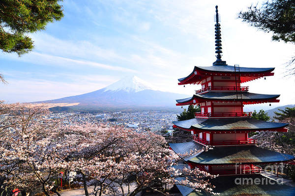 Red Pagoda With Mt. Fuji As The Poster