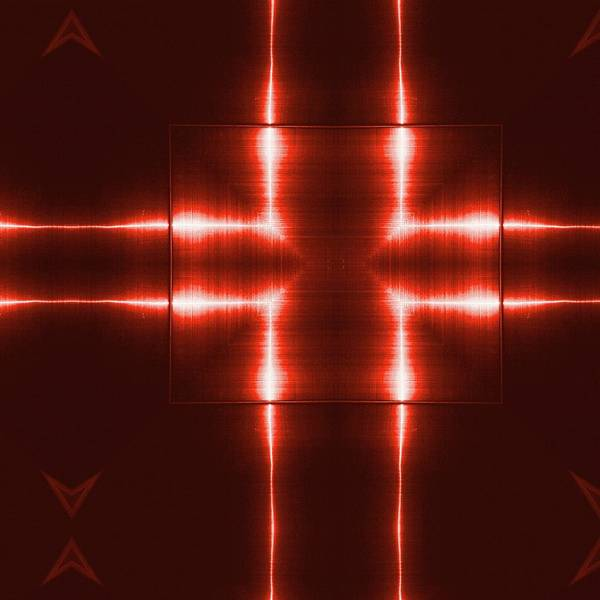 Red Reflecting Metallic Surface. Technological  Background.  Poster