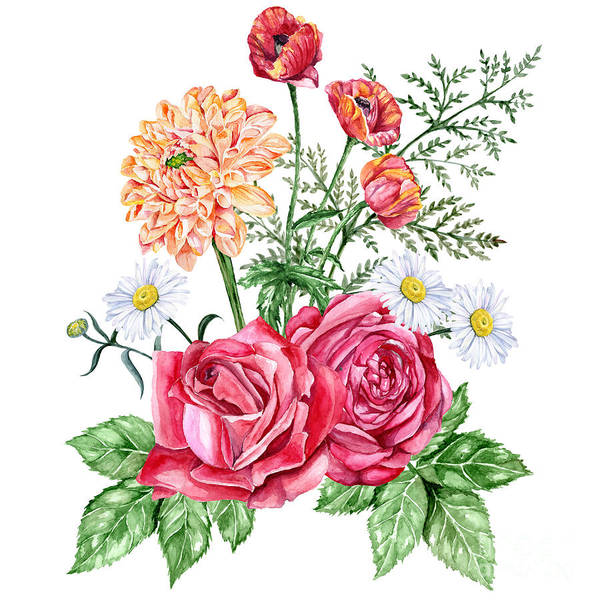 Red Roses, Orange Dahlias, Poppies And Poster