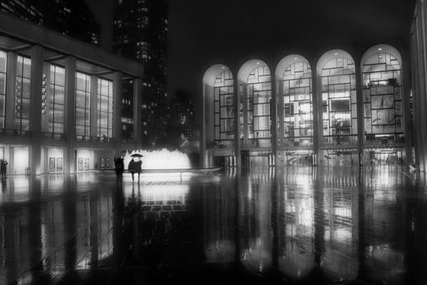 Poster featuring the photograph Refuge Under The Umbrella At Lincoln Center by Jacqui Boonstra