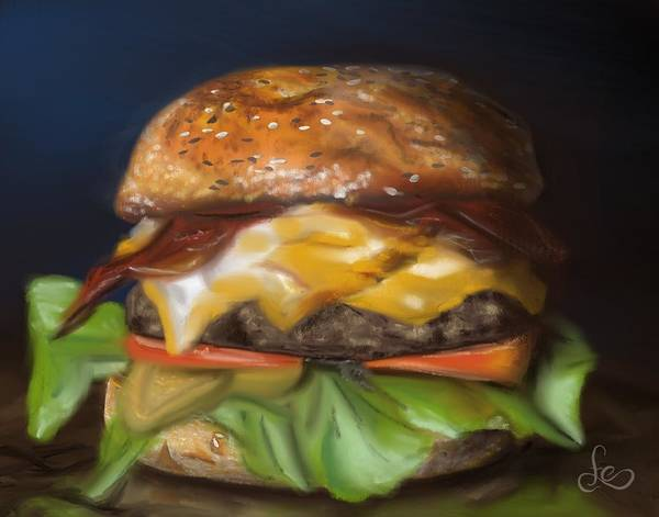 Poster featuring the pastel Renaissance Burger  by Fe Jones