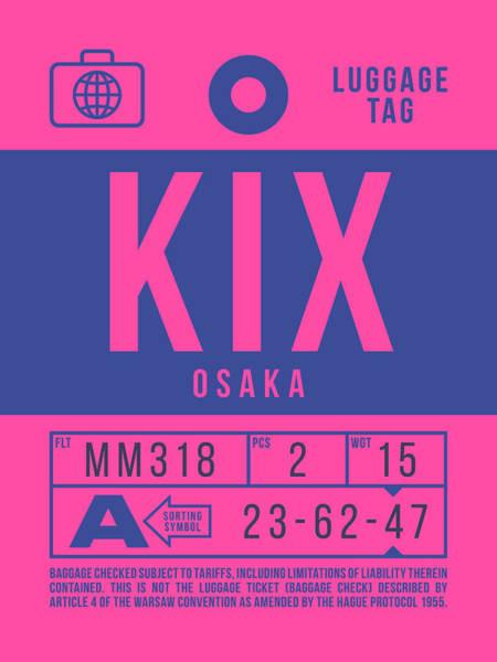 Retro Airline Luggage Tag 2.0 - Kix Osaka Kansai Japan Poster