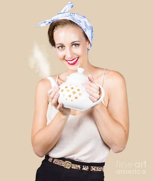 Retro Housewife With Teapot Poster