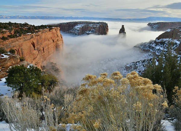 Rim Rock Drive View Of Fogged Independence Canyon Poster