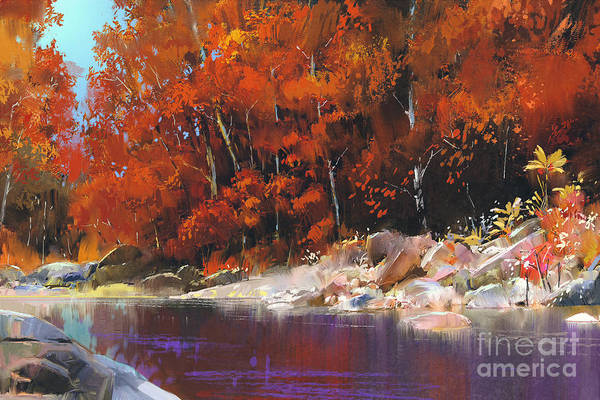 River In The Autumn Forest,landscape Poster