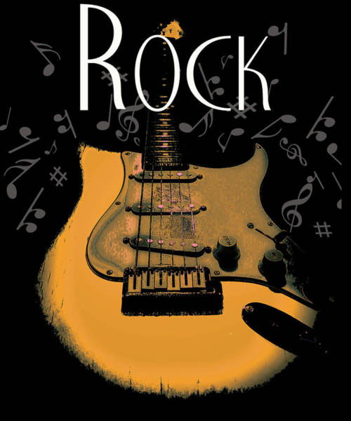 Rock Guitar Music Notes Poster