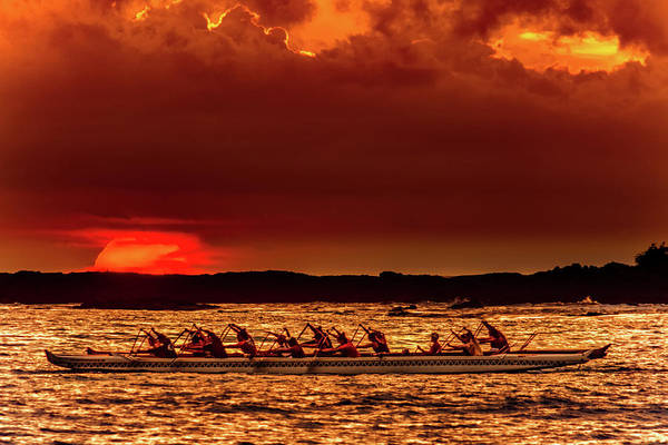Rowing In The Sunset Poster