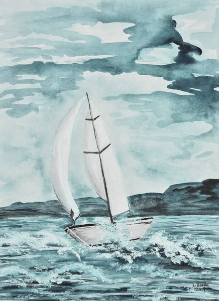 Sailboat In Teal Poster