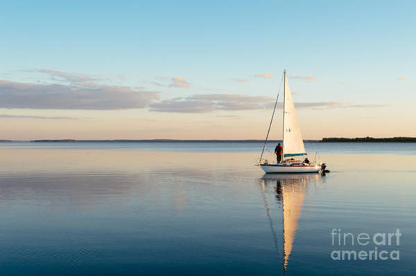 Sailing Boat On A Calm Lake With Poster