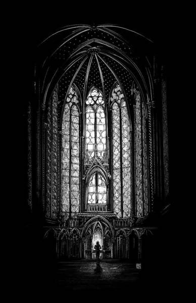 Poster featuring the drawing Sainte-chapelle by Clint Hansen