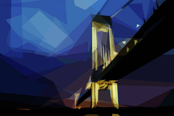 Poster featuring the digital art San Francisco Bridge by ISAW Company