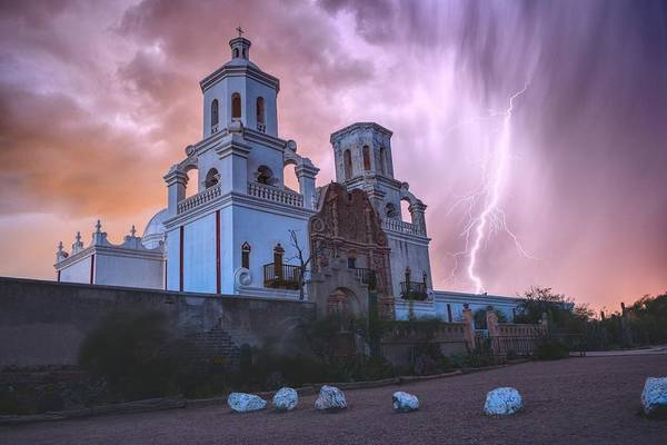 Poster featuring the photograph San Xavier Mission Lightning by Chance Kafka