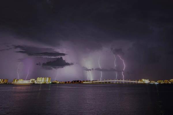 Sand Key Bridge Lightning Poster