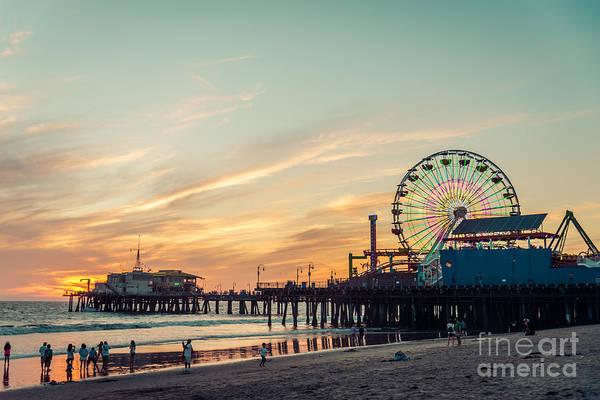 Santa Monica Pier At Sunset, Los Angeles Poster