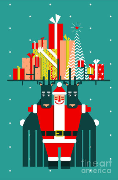 Santa With Deers Gifts And Presents Poster