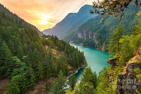 Scene Over Diablo Lake When Sunrise In Poster