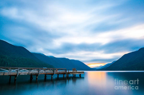 Scenic View Of  Dock In  Lake Crescent Poster
