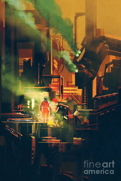 Sci-fi Scene Showing Red Astronaut Poster
