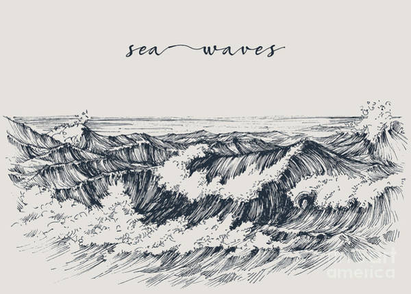Sea Or Ocean Waves Drawing. Sea View Poster