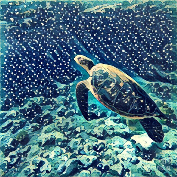Sea Turtle Swimming Underwater. Digital Poster