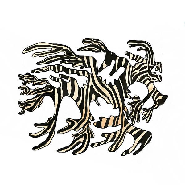 Poster featuring the mixed media Sea Zebra Dragon In White by Joan Stratton