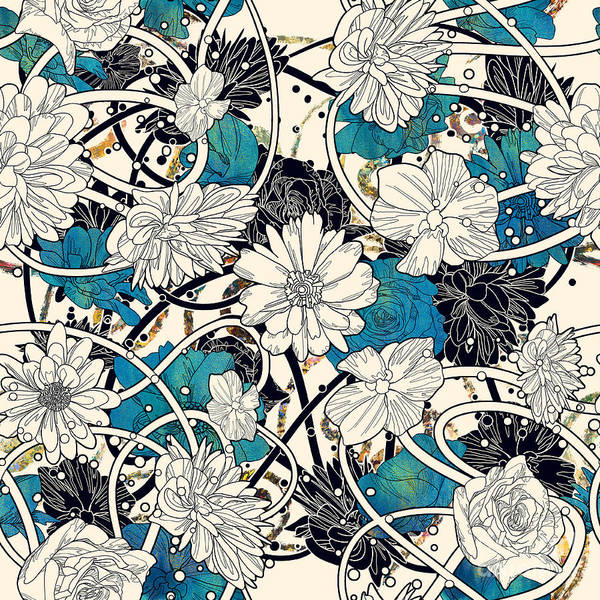 Seamless Pattern With Beautiful Flowers Poster