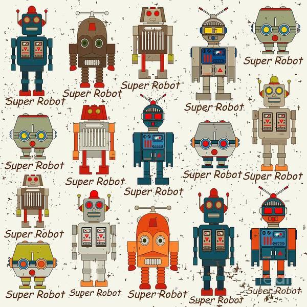 Seamless Robot Pattern,cartoon Vector Poster