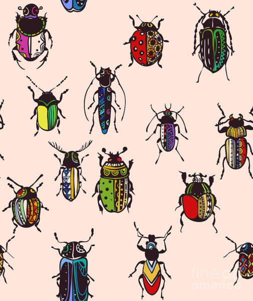 Seamless Texture With Funny Bugs Poster