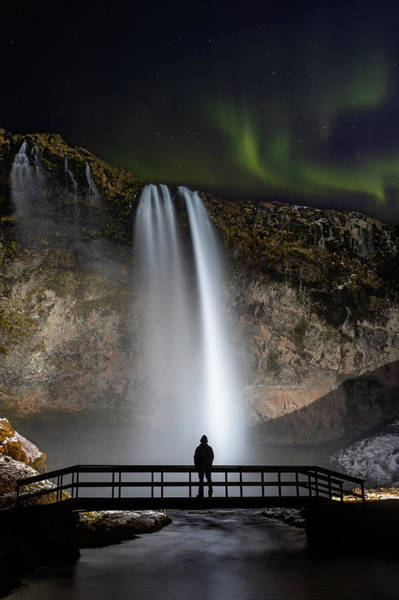 Seljalandsfoss Northern Lights Silhouette Poster
