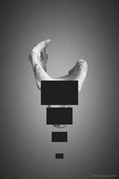 Sentinelia In Black - Surreal Abstract Elephant Bone With Rectangles Poster