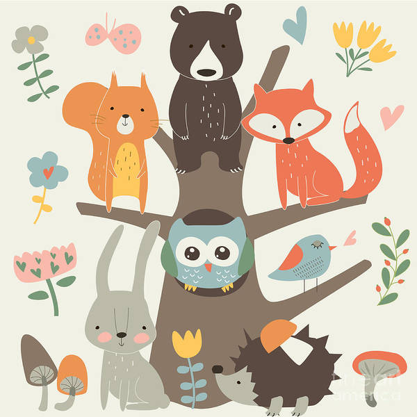 Set Of Forest Animals In Cartoon Style Poster