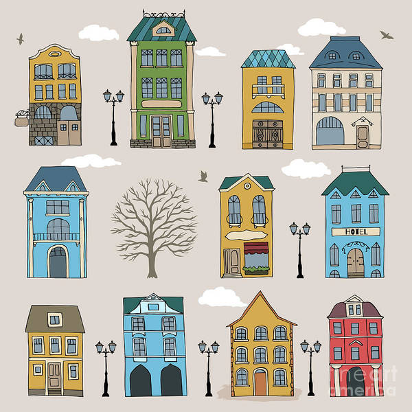 Set Of Old European Houses Isolated On Poster