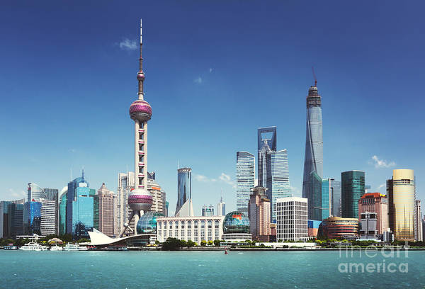 Shanghai Skyline In Sunny Day, China Poster