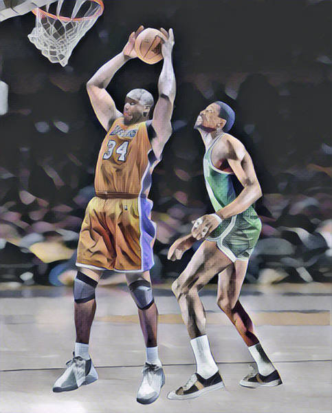 Shaquille O Neal Vs Bill Russell Abstract Art 1 Poster