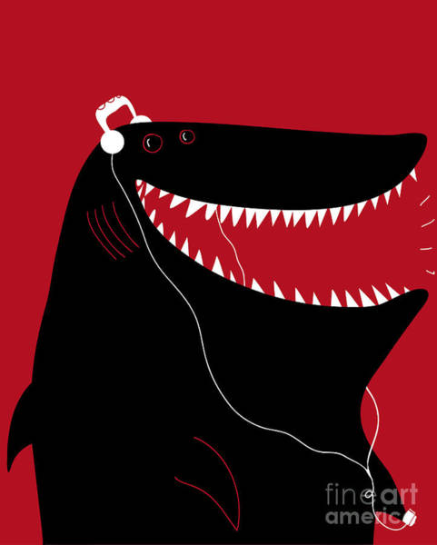 Shark With Headphones And Portable Poster