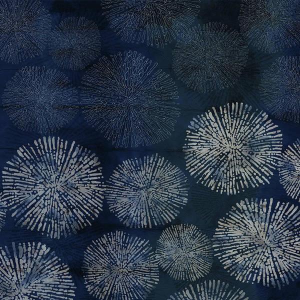 Shibori Sea Urchin Burst Pattern Dark Denim Poster