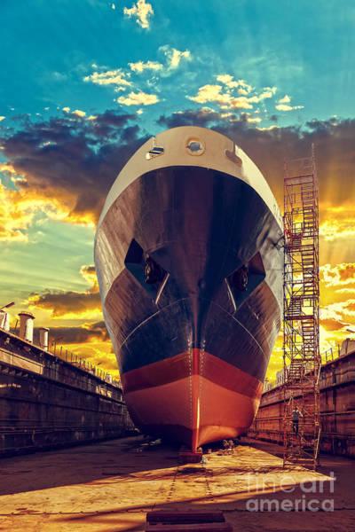 Ship In Dry Dock At Sunrise - Shipyard Poster