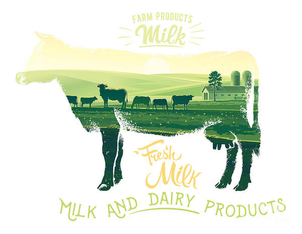 Silhouette Of A Cow Combined With The Poster