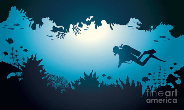 Silhouette Of Scuba Diver And Coral Poster
