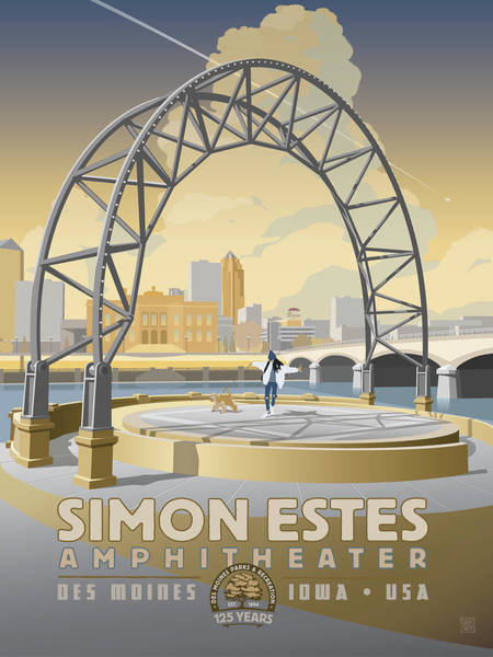 Poster featuring the drawing Simon Estes Amphitheater by Clint Hansen