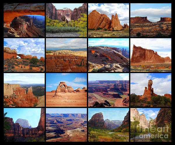 Sixteen Utah Icons Collage Poster