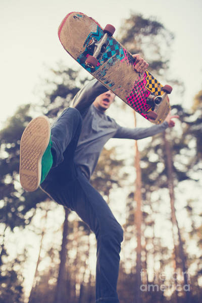 Skater Guy Jumps Poster