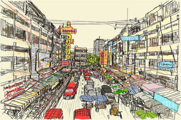 Sketch Thai Local Market Place In Poster