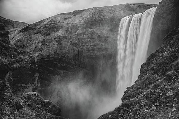 Skogafoss Iceland Black And White Poster
